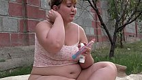 Chubby on the nature masturbates fat butt and d...