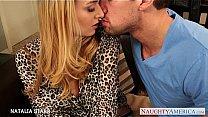 Gorgeous blonde Natalia Starr gives blowjob