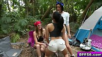 All girls camp out and orgy in the woods