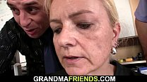 Old blonde swallows two cocks for work