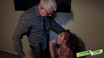 Dad throws Izzy up on the table and fuck her si...