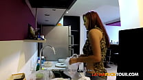 Red Hair Busty Latina Pounded in the Kitchen