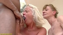 two crazy old moms in a rough big black cock in...