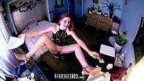 Redhead Reads Erotic Story & Cums