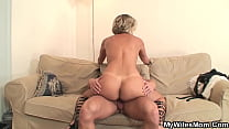 Son-in-law's big cock goes well into mother-in-...
