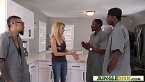 Naughty Cougar Blonde Goes For Interracial Gang...