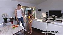 Asian teen in yellow bikini sucks fat dick
