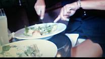 Flashing white panties in  a restaurant