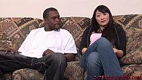 Horny asian wife Lena sucks a big black dick th...