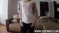 Skinny teenager sucks dick and fucks doggystyle...