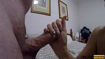on vacation in Lanzarote I massage his cock wit...