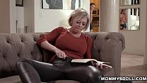Big tits mom begins to rub her pussy under her ...