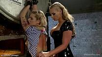 Bound blonde lesbian Dahlia Sky to big boiler g...