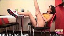 Domestic babe Lara flashing her panties