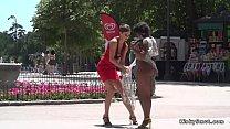 Mistressdisgraces ebony bbw slave in public