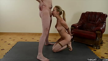 Tied Hot Blonde Model Does Blowjob And Facial - ThroatLust.com