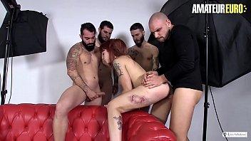 AMATEUR EURO - Amateurs Fucks Latina Redhead Lilyan Red In Gangbang Session