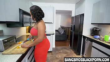 Ebony stepmom deals with her boyfriends' son who has a big dick - interracial black porn