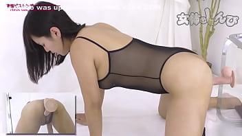 japanese slut fucks dildo from the back