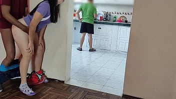 MY HORNY FRIEND cleans the KITCHEN while I FUCK his WIFE on the other side