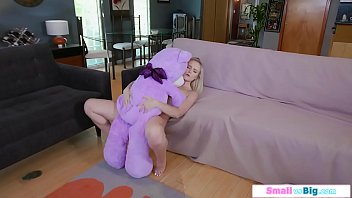 Cute teen fucked by her neighbor after playing with teddybear