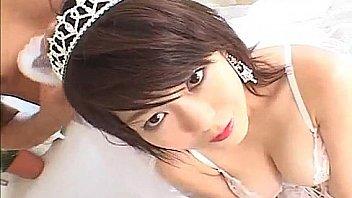 Japanese AV Model in white lingerie gets huge fuck of her pussy