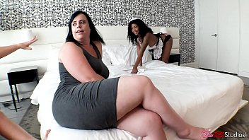 Ebony Maid Turned into Escorts by Chubby Prostitutes