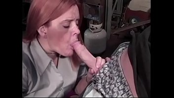 Plump mature redhead knows how to suck long cock