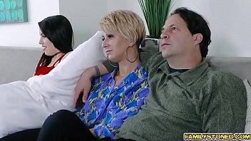 Step daughter Raven Reign and step dad fucks on the couch beside s. mom!