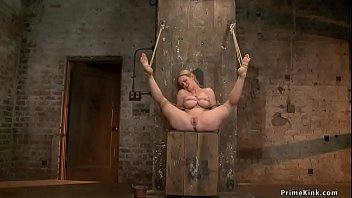 Huge tits gagged blonde Milf slave in dress and tight rope bondage gets clothes cut then master toys her in hogtie