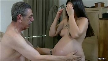 Pregnant slut fucks with an old guy