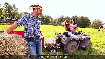 Let's Fuck Outside - Cowgirls gets Fucked by Cowboy in Outdoor Threesome