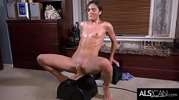 Tiny Tits Brunette Riding Sybian to Intense Orgasm