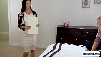 Busty stepdaughter wants to be her stepmoms PA.Little does she know it requires her to lick the milfs shaved pussy.Her big tits mommy gives a rimjob