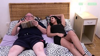 Grandpa is too lazy to go out and as punishment the horny Sarah Cute fucks his soul out of his body and lets him spray twice.