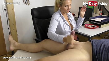 Blonde German amateur secretary with big tits is caught smoking at the office by her boss and gives him a handjob for a free pass