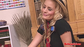 Babesalicious - Big Tits Blonde College Girl Fucked By 2 Teacher