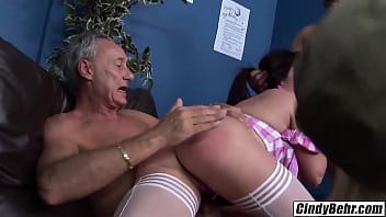 Sasha Rose brings Cindy Behr to a sausage party to fuck