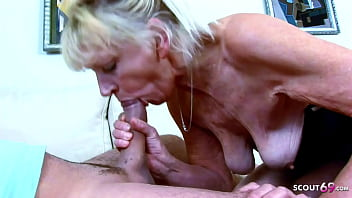 UGLY GRANDMA WITH HAIRY PUSSY CAUGHT AND SEDUCE TO SEX BY HUGE COCK YOUNG GUY