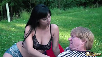 Watch Hard and deepthroat blowjob for old man from young blonde and brunette preview
