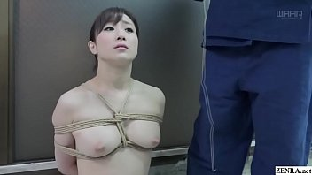 BDSM JAV stark naked Yuu Kawakami sits properly for abnormal nose hook play and rope binding along with a twisted blowjob in HD with English subtitles
