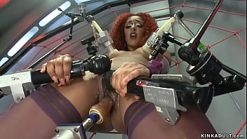 Solo ginger ebony babe Daisy Ducati in purple stockings in spider web fucking machine and vibrating pussy then taking dildo from behind to orgasm