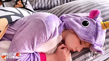 Teen in the Kigurumi Suck and Hardcore Sex after Waking Up POV - Cum on Face