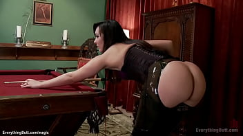 Pro pool player Sinn Sage collects debt from lesbian loosers Claire Robbins and Rachel Madori with anal sex toys and thick strap on cock