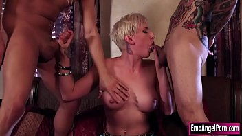 Tattooed stepsis is called by her stepbro and his friend to help them which dick is bigger.They pull out their dicks and let stepsis suck it passionately.In return they fuck her tight pussy to decide which dick is bigger. Thumbnail