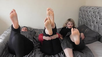 Three pairs of sweaty feet and soles