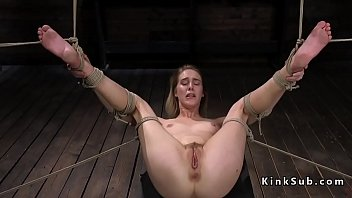 Hogtied gagged blonde slave Cadence Lux on her knees suffers pain and ass whip then master vibes her pussy