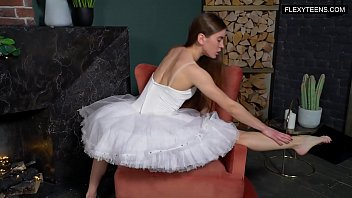 Super hot naked ballerina spreading legs