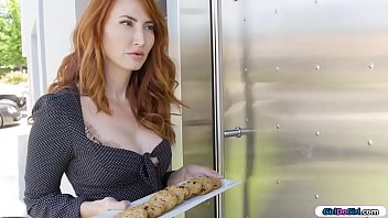 Lonely redhead milf housewife brings cookies to her new neighbours.She hears a sound and takes a look.She finds them having sex and they invite her in and seduce her.Shes licked while shes rubbing the other.She facesits one whos licked by her wife