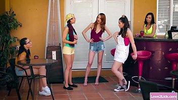 New redhead student_ganged by three sassy lesbians Thumbnail